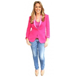 claire-sweeney-pink-jacket-cardboard-cutout