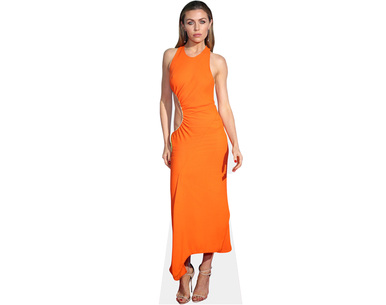 abby-clancy-orange-dress-cardboard-cutout