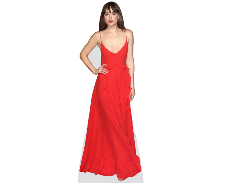 dakota-johnson-red-dress-cardboard-cutout